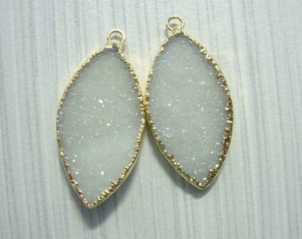 Natural White Agate Druzy Drusy 24K Gold Electroplated Matching Pair, Beautiful Leaf Shape, Marquise,15% sale, OCT7