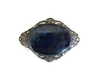Art Deco Brooch, Sterling Germany, Lapis Lazuli, Marcasite, Sash Pin, German Silver, Antique Jewelry