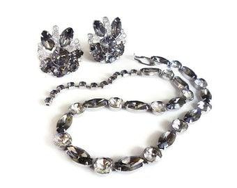 Eisenberg Necklace Earrings, Rhinestone Jewelry Set, Charcoal Gray, Diamante, Vintage Jewelry, Wedding Bridal, Designer High End