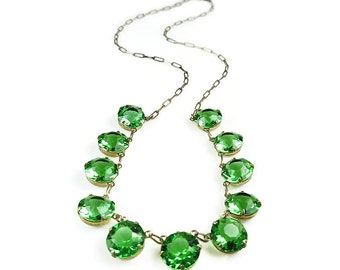 Art Deco Necklace, Sterling Silver, Green Crystal, Open Back Bezel, Bib Choker, Antique Jewelry
