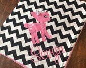 Personalized Baby Blanket- Deer Baby Blanket- Chevron Minky Blanket- Applique Baby Blanket- Custom Blanket-