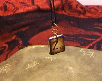 Game tile necklace pendant- Letter Z