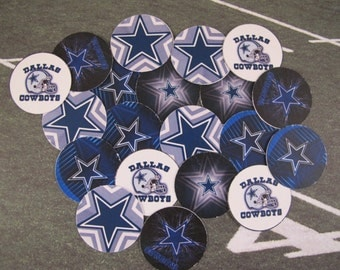 "50 Pre-cut 1"" round Dallas Cowboys Bottlecap images Scrapbooking/Bows"