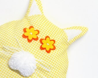 Plush Kitten - Cat - Stuffed Fat Cat - Yellow and White - Soft Sculpture Toy - Nursery/Children's Room Decor - Baby Shower Gift - CAMILLE