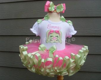 Custom tutu..RIBBON trimmed deluxe tutu set, EASTER BUNNY rabbit tutu, easter tutus, princess tutu, easter dress, bunny tutu, easter outfit