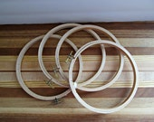 """DESTASH - 6"""" Wood Embroidery Hoops - Round Sewing, Stitching, Needlework, Arts and Crafts Supply - Set of 4"""