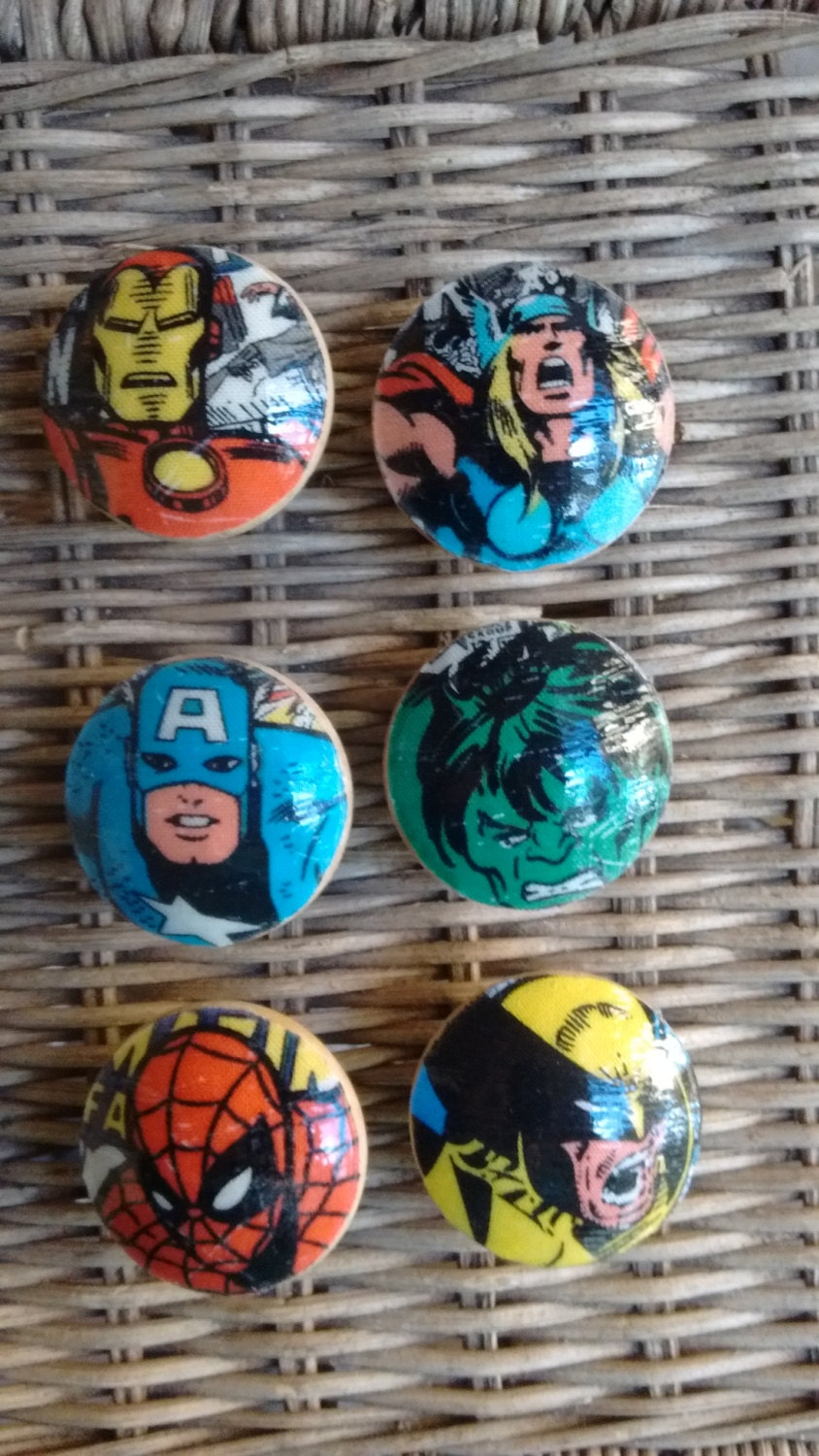 Marvel Avengers Handmade Knobs Drawer Pull Set Of 6 Dresser