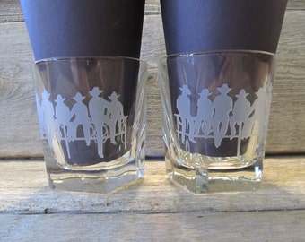 Cowboy Up Pair of Etched Bourbon Rocks Glasses - Made to Order