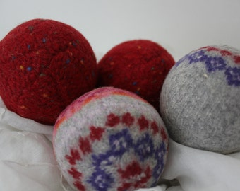 Wool Dryer Balls, Set of 4 from Repurposed  Wool Holiday Sweaters in Red Blue and Gray