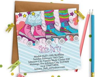 Skate Party Invitation , Roller skating invitation for girls, Roller Skating Birthday Invitation, Roller Skating Invitation
