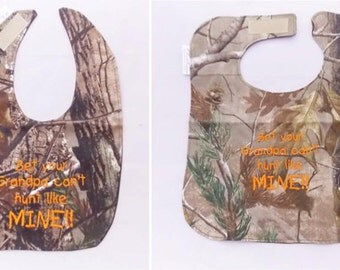 Bet Your Grandpa Can't Hunt Like Mine - Baby Bib - Small OR Large - FREE Shipping