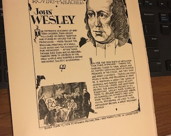 Book page print John Wesley the roaming preacher  7x11aporox. Great for framing for the collector. History.