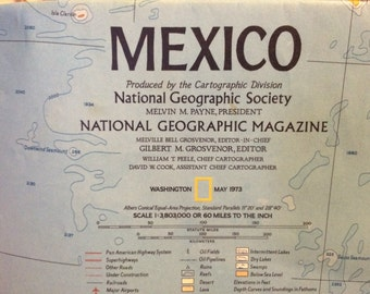 Large map of Mexico and Central America circa 1973 National Geographic issued. Would be great for framing. Class room Man Cave or office.