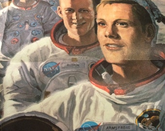 1973 poster teamates in mankinds greatest adventure. National Geographic poster. NASA. 36x 24.