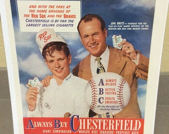 1946 Chesterfield cigarette ad large 11x15 approx. great graphics. Boston Red Sox Jim Britt