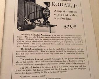 Eastman Kodak Anastigmat f.7.7 and the No. 2C autographic Kodak jr ad