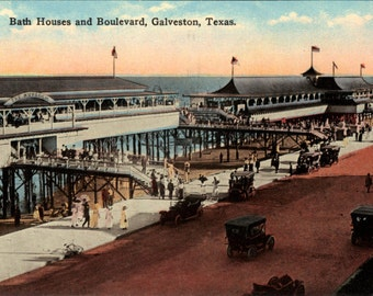 Bath houses Galveston Texas vintage view image print 8 x 10 suitable to frame.
