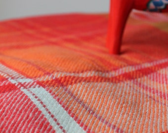 Vintage Orange Plaid Blanket