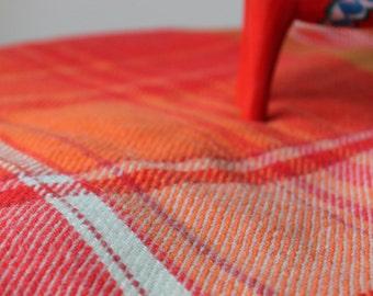 Vintage Orange Plaid Blanket