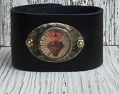 Sacred Heart Holy Card Soldered Leather Cuff