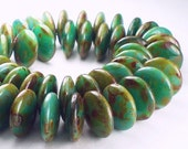 Top Drilled Lentils Picasso Czech Glass Beads Greens 12mm 25 pcs. TDL-029