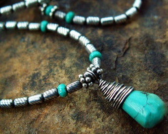 Out West Necklace -:- Thai silver & turquoise necklace. Delicate. Southwest. Sundance.