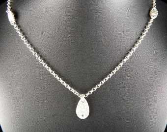 Sterling Silver Teardrop Station Necklace