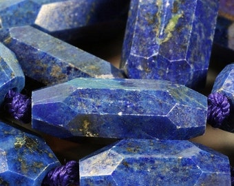 ON SALE Lapis Lazuli Nuggets, Lapis Beads, Step Faceted Rectangles, Chunky Beads, Pyrite Inclusions  - Half-Strand