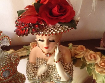 Jeweled lady head vase in red and clear rhinestone jewels Lefton 2705