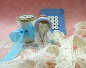 Needful Notions Vintage Sewing Porcelain Half Doll MOP Shell Button Card Lace Trim Wood Thread Spool Supply Lot Estate Finds All As Shown