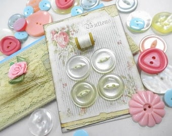 Cottage Chic Notions Keepsake Collection Button Card Mix Baby Pastel Sewing Buttons Crafty Lace Trim Supply Kit DIY Inspiration Lot