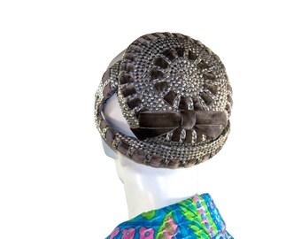 Vintage 1950s Emme Grey Velvet Cocktail Hat, Glazed Straw Perch Hat