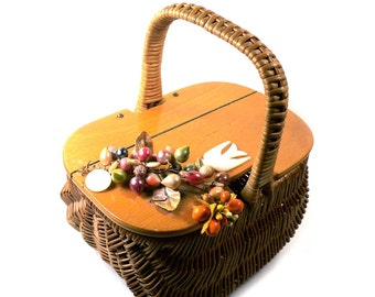 Vintage Wicker Basket Weave Purse Handbag With Mother of Pearl Bird and Baubles