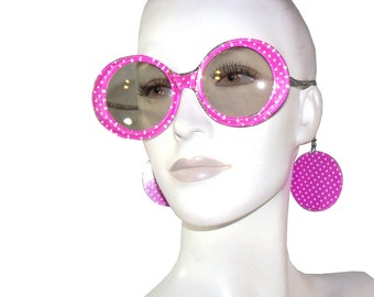 Vintage 60s 70s Hot Pink Polka Dot Sunglasses with Chains and Circle Discs, Mod Wide Eye Sun Glasses