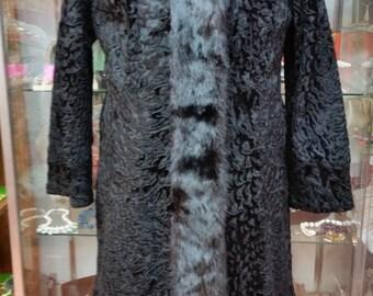 Persian Lamb Coat Broadtail Lamb Mink Fur Ladies Vintage Coat Spectacular!