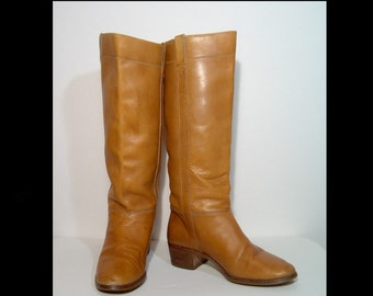 1970s 1980s honey brown leather campus boots - 8 - stacked wood heels - Made in Brazil - knee high tall