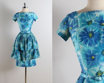 Vintage 50s dress | 1950s vintage dress | blue floral cotton 3-pc set xs/s | 5761