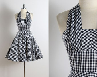 Vintage 50s dress | vintage 1950s dress | gingham print cotton halter dress xs | 5764