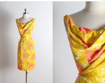 30% SALE Vintage 50s dress | Dorothy O'Hara 1950s dress | yellow floral dress xs/s | 5287