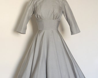 Grey Gingham 100% Silk Fold Neck Collar Dress with Circle Skirt - Made by Dig For Victory