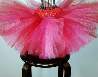 Girl's Tutu, Valentine's Day Tutu, Pink and Red Tutu, Birthday Tutu, Flower Girl Tutu, Red and Pink Tutu, Valentine's Day Photo Prop, Tutu