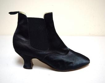 Vintage AMAZON DRY GOODS Black Satin Elastic Gore Ankle Boots England Size 6
