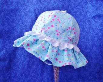 Baby Sunhat with Chin Strap Light Blue Pink Flowers Lace