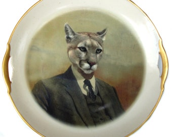 SALE - Colin the Cougar portrait Plate - Altered Vintage Plate 9.75""