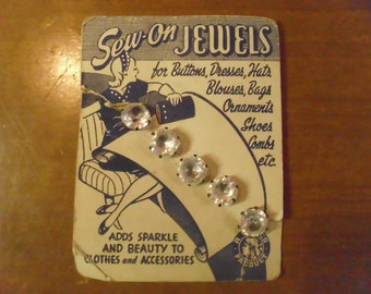 "Vintage 1940's  ""Sew On Jewels"" Rhinestones  Deadstock"