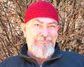 Mens Short Hat Crocheted in Cranberry
