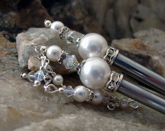 Hair Stick Crystal and White Pearl Wedding Hair Pin Bridal Accessories Pair Swarovski Crystal Pearl for the Bride Hairstick Set - Avery 2187