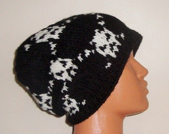 Mens Slouchy Beanie Hat with Skull Knit Hat, Beanie, Mens hats, Skull hats Slouchy winter hat