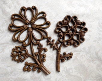 Pair of Brown Plastic Syroco Homco Flowers, 1970s Vintage Wall Décor