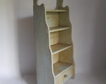 Antique Weathered Light Green Wall Shelf with Drawer